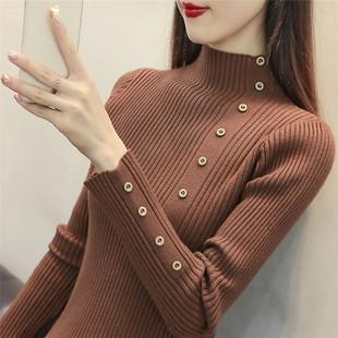半高领毛衣打底衫女长袖2018秋冬新款韩版套头短款加厚修身针织衫
