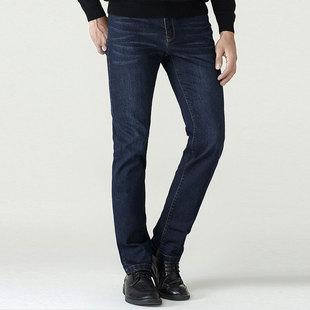雅库男装中青年男士新款时尚深色透气直筒牛仔裤子包邮
