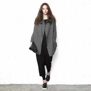原创设计师品牌女装外套中长款宽松显瘦大码2019秋冬个性风衣上衣