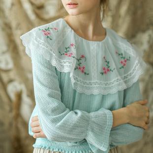 脸儿艺 秋冬新品 精美刺绣 维多利亚大翻领 水绿针织上衣