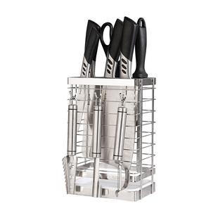 304不鏽鋼放刀架刀具收納架子挂鈎菜刀架插刀座盒廚房置物架用品