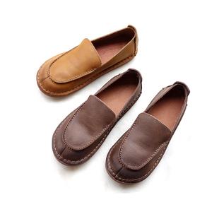 鞋履原创女鞋新品春夏日式复古文艺风手工牛皮女低帮平底单鞋女