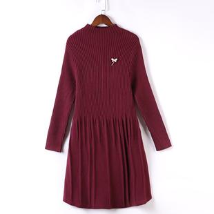 妈妈春秋装毛衣中长款打底衫中年女装秋冬款针织连衣裙长袖上衣潮