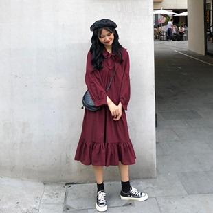 春季韩版女装宽松中长款系带灯笼袖A字连衣裙显瘦气质过膝长裙