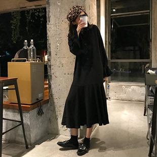 春装韩版复古chic不规则鱼尾裙宽松显瘦气质翻领长袖连衣裙长裙女