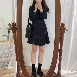 春装韩版女装气质格纹收腰长袖连衣裙衬衫裙复古显瘦高腰中长裙