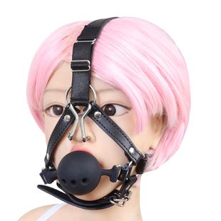 馬具型帶鼻鈎口塞口球口夾頭套sm激情另類成人刑具捆綁情趣用品女