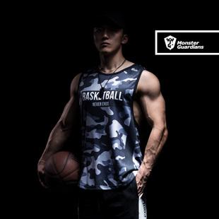 Monster Guardians 夏季男子无袖迷彩健身背心篮球运动宽松训练服