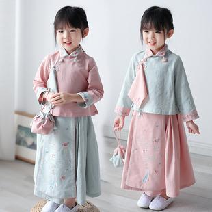 儿童唐装女中国风套装复古童装小女孩春秋装古风改良宝宝汉服女童