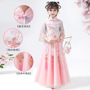 儿童汉服女春秋女童古装超仙夏装中国风唐装童装抖音小女孩连衣裙