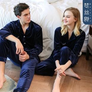 韩国金丝绒情侣款睡衣女秋冬居家服男士春秋长袖薄绒保暖两件套装