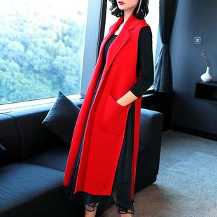 2018新款针织马甲女红色春秋冬西装领中长款过膝毛衣马夹外套开衫