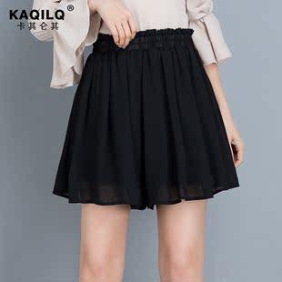 雪纺短裙女2020夏季新款百褶裙a字半身裙裤休闲薄款黑色阔腿短裤