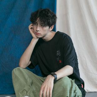 日式浮世绘飞鹤刺绣T恤日系潮男文艺宽松个性街头潮流短袖tee夏季
