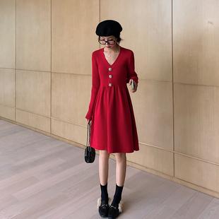 蓝语大码女装胖妹妹mm2019冬装新款气质洋气显瘦中长款针织连衣裙