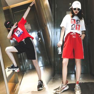 运动短裤女夏ins潮外穿跑步韩版显瘦休闲宽松直筒五分裤BF风中裤