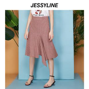 jessyline2019春装新款 杰西莱不规则小格子半身裙中长款纯棉裙子