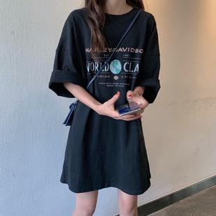 夏季2019新款黑色显瘦宽松短袖连衣裙复古印花网红中长款t恤裙女