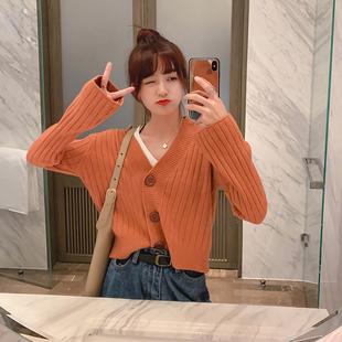 很仙的开衫毛衣女韩版早秋网红宽松洋气学生短款针织外套上衣春秋