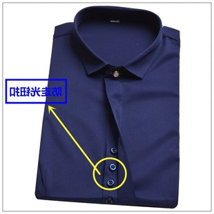 高档品牌春季女士长袖衬衫藏蓝色小方领防走光韩版职业装弹力免烫