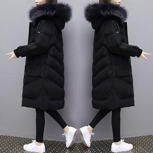 欧洲站2018冬装新款中长款过膝大毛领羽绒服女大码加厚白鸭绒外套