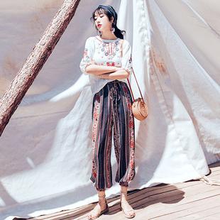 2019夏新款女装民族风两件套气质沙滩灯笼裤子女神范海边度假套装