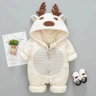 初生婴儿棉衣春秋装连体衣爬服新生儿满月宝宝女衣服男12春季哈衣