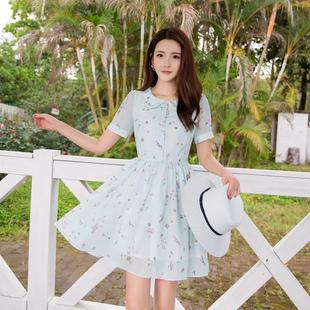 ATAR2018夏装新款女小清新短袖翻领雪纺连衣裙印花短裙淑女裙子
