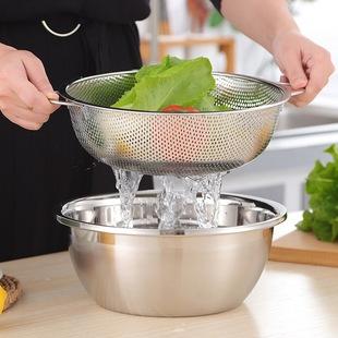 不锈钢沥水篮淘米神器洗米洗菜盆篮子厨房家用漏盆双层大号洗水果