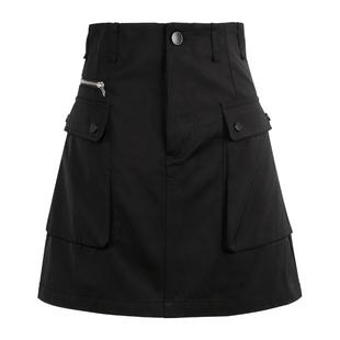 ACSENSE工装a字黑色半身裙2019新款潮气质短裙女高腰包臀一步裙
