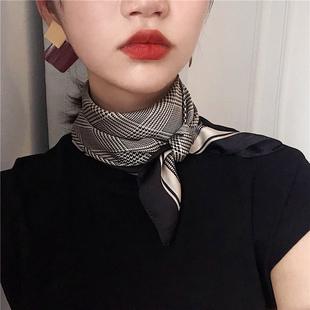 复古千鸟格小方巾女薄丝巾春秋冬季新款围脖韩国装饰百搭空姐领巾