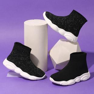 女童弹力袜靴2019春秋新款韩版中大童黑色高帮短靴针织运动袜子鞋