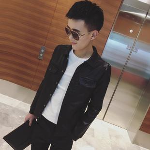 春季男士皮夹克韩版外套社会人精神青年小伙修身机车皮衣潮流外衣