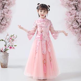 儿童汉服女童古装超仙连衣裙中国风唐装旗袍春秋童装12岁女孩礼服