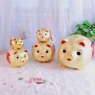 创意大金猪存钱罐儿童陶瓷储蓄罐摆件