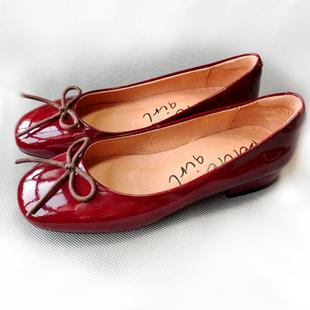 春季新款方头牛皮酒红色小皮鞋漆皮低跟浅口蝴蝶结芭蕾舞单鞋女