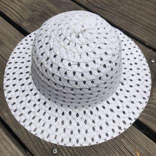 儿童帽子遮阳帽光板帽胚五根拉菲草服饰配件单色帽子厂家直销批發