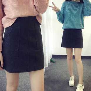 韩版秋冬天毛呢显瘦半身a字短裙子冬季女士a型包臀小黑裙妮子包裙
