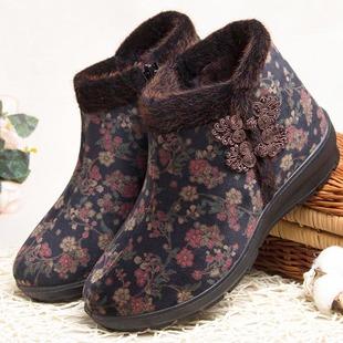 老太太老年人棉鞋防滑奶奶冬季加绒老人保暖鞋雪地靴女北京布鞋子