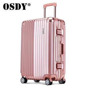 OSDY热销铝框行李箱女学生万向轮拉杆箱男促销时尚镜面旅行密码箱