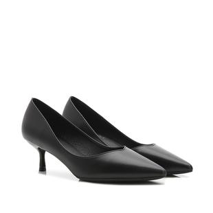 黑色高跟鞋女2018新款尖头细跟3cm低跟5cm中跟工作鞋百搭职业单鞋