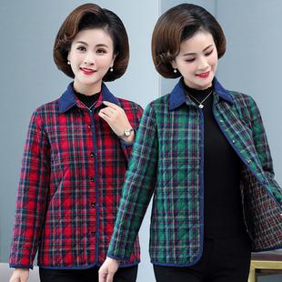 妈妈装棉衣短款秋冬中老年女装翻领夹棉格子衬衫式小棉袄薄款外套