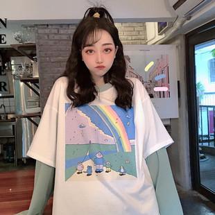 Never家 20新款韩版BF风中长款假两件拼色彩虹圆领宽松长袖卫衣女