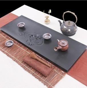 天然乌金石茶盘茶具套装整块简约家用客厅大小号排水茶海茶台定制
