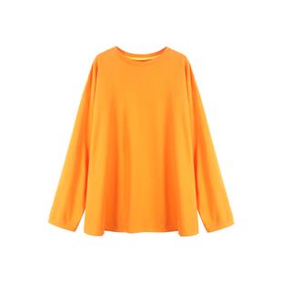 张景亦 长袖t恤女初秋新款韩版宽松显瘦圆领打底衫中长款薄款上衣