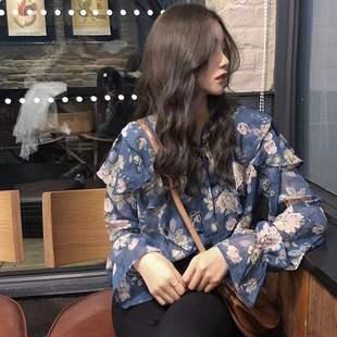 春夏新款清新chic韩国显瘦衬衫显白藏蓝色花朵雪纺衫百搭复古碎花