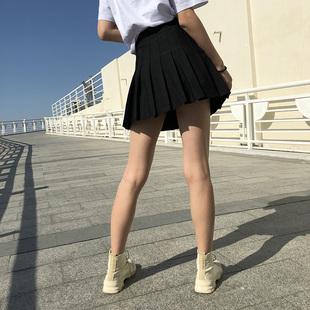 高腰百褶裙女春夏季黑色大码学院风半身裙a字显瘦防走光小短裙裤