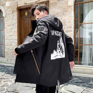 黑色连帽外套男春秋2020韩版潮流帅气休闲宽松夹克中长款大码褂子