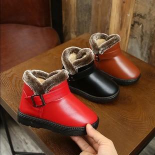 儿童保暖雪地靴男女童防滑靴子冬季加绒PU皮宝宝短靴加绒加厚棉鞋