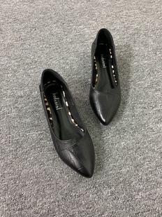 2019春夏新款单鞋女低跟石头纹瓢鞋软牛皮女鞋AL215-28